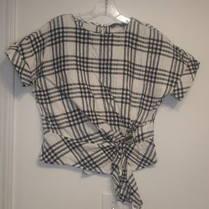 Zara size S black and White gingham top